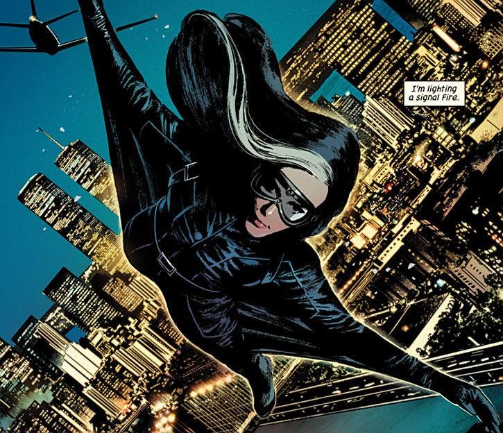 Velvet Templeton (Image Comics by Brubaker and Epting) gliding suit over New York