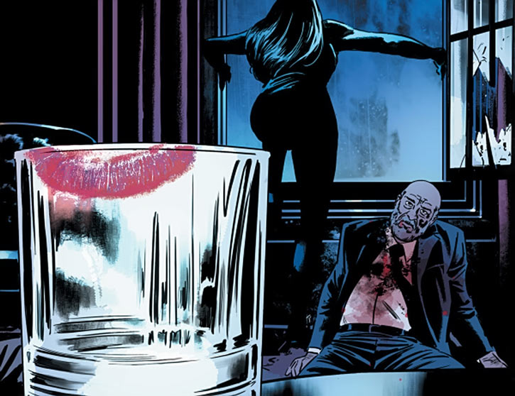 Velvet Templeton (Image Comics by Brubaker and Epting) lipstick on glass