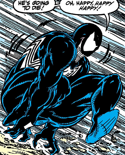Venom (Spider-Man enemy) (Marvel Comics) leaping and rejoicing