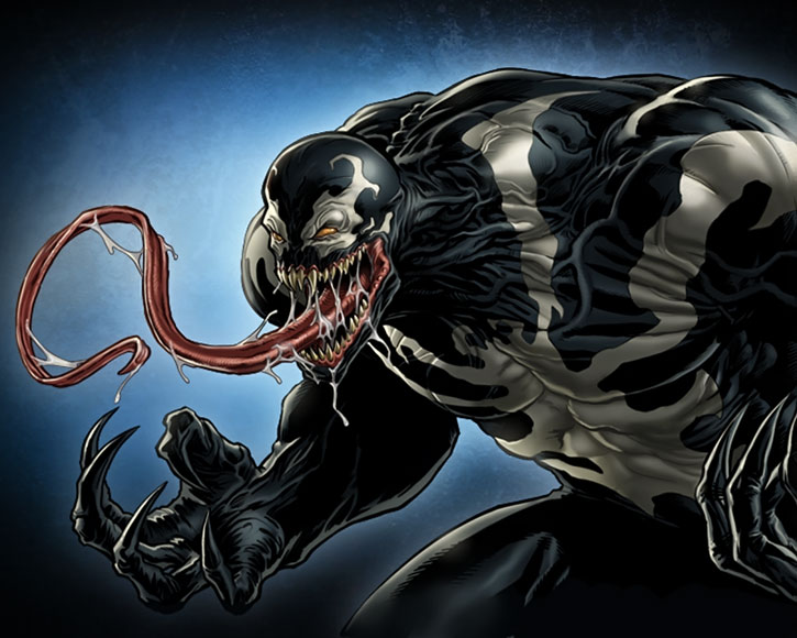 Venom (Eddie Brock) sticking his tongue out