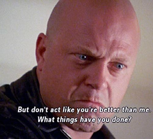 Vic Mackey (Michael Chiklis in The Shield) threatening