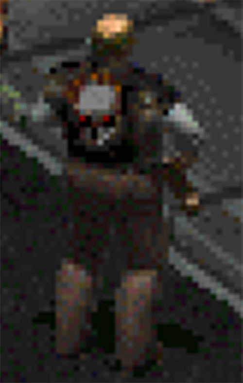 Vic the trader in Fallout 2, back of leather jacket with skull