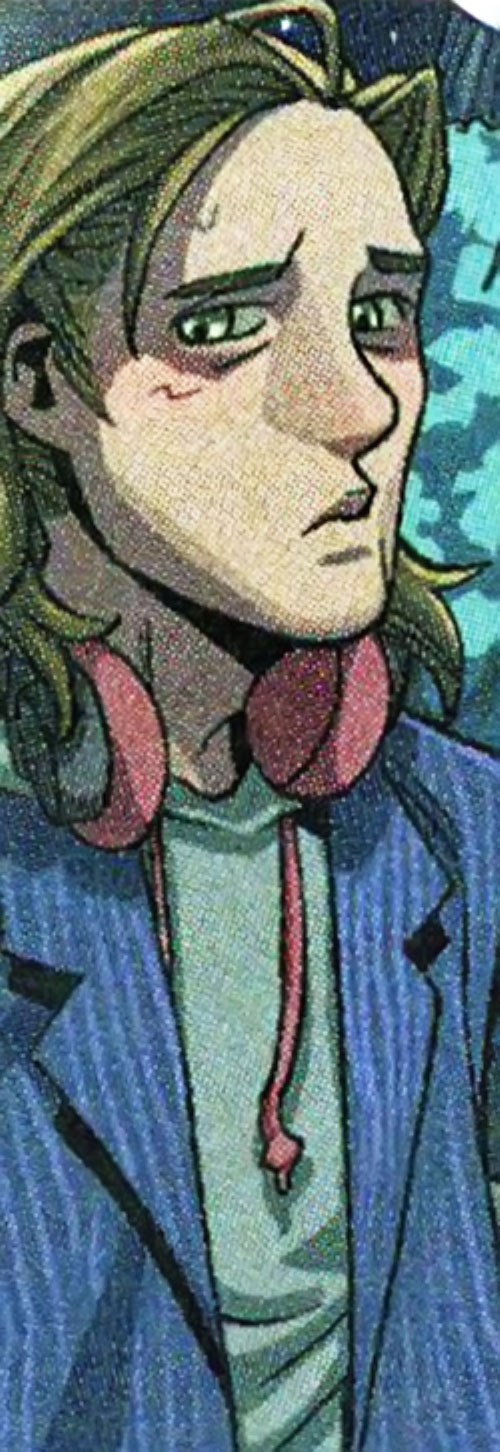 Victor Mancha of the Runaways (Marvel Comics) in a blue stripped vest