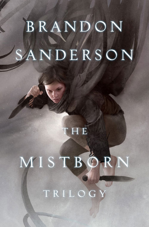 Vin (Mistborn) jumping bare footed with paired knives cover