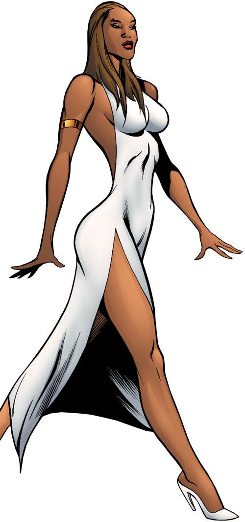 Vixen of the JLA (DC Comics) modelling a white dress