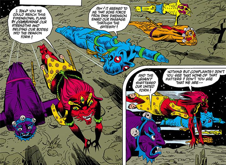 Demons from the Vortex flying over the desert