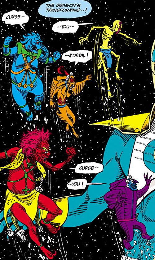 Flying Demons from the Vortex cursing Hero Zero