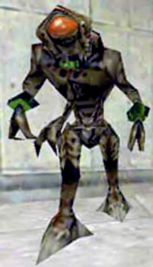 Vortigaunt from Half-Life, in a corridor