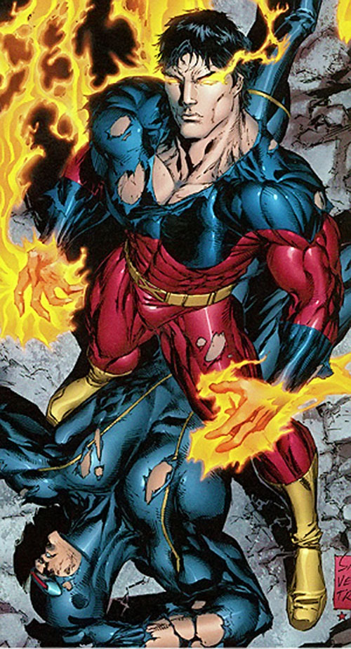 Vulcan (X-Men enemy) (Marvel Comics) standing over a defeated Cyclops