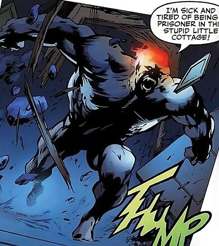 Wallop of Clan Destine (Marvel Comics) crashing through a door