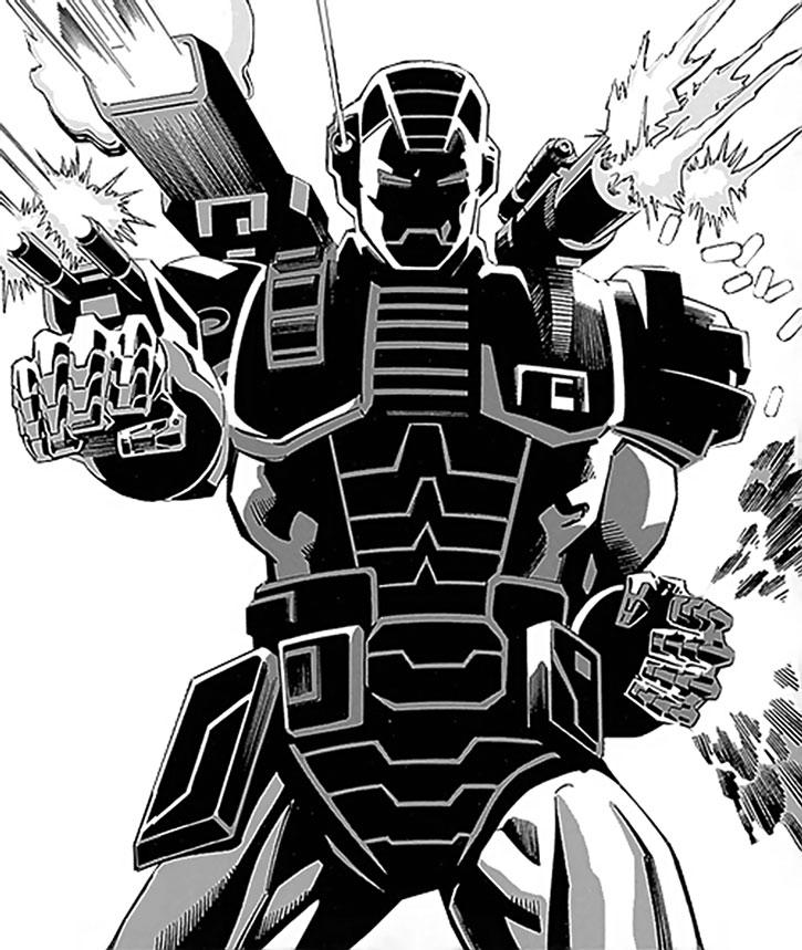 War Machine (James Rhodes) using multiple weapons