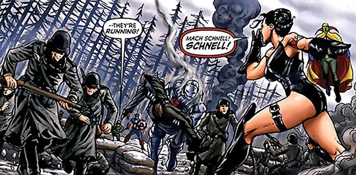 Warrior Woman (Julia Koenig) commanding Nazi soldiers