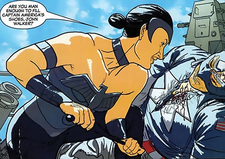 Warrior Woman (Julia Koenig) defeats USAgent