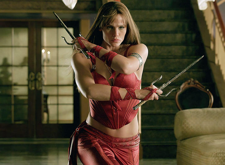 Jennifer Garner as Elektra, with paired sai