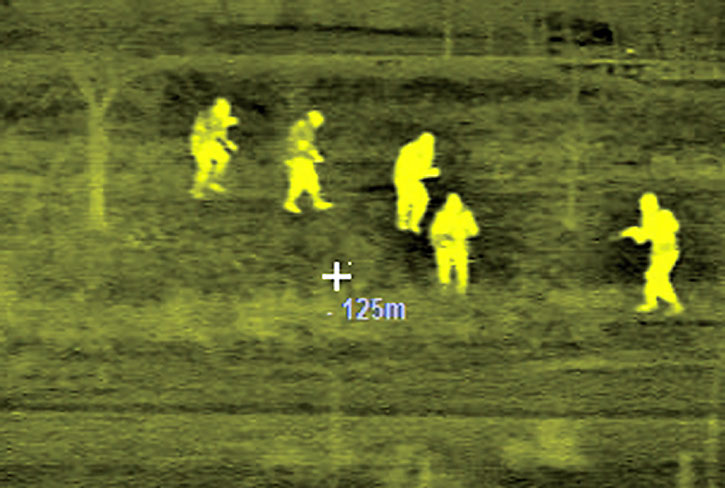 Infra-red sight detecting intruders