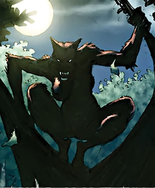 Female werewolf perched in a tree under the moon