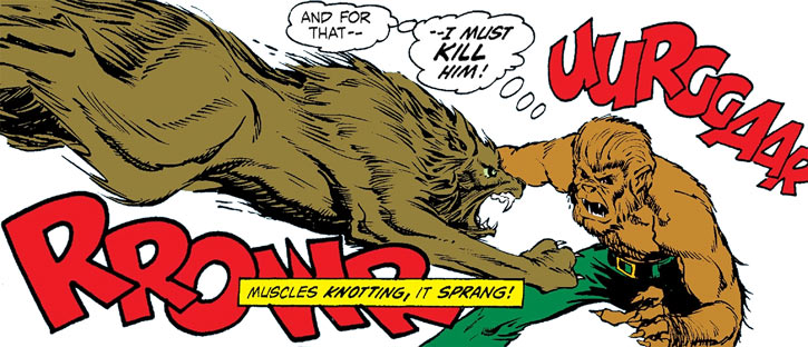 Werewolf by Night (Marvel Comics) fights a wolf