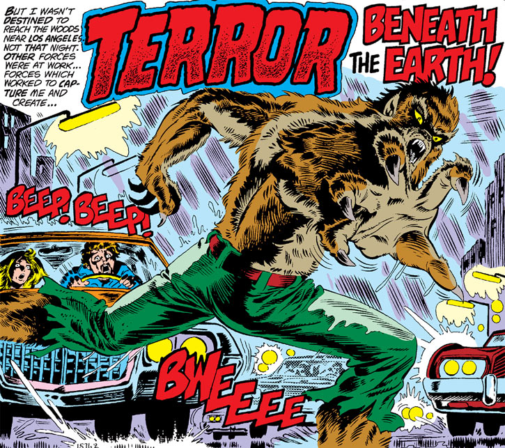 Werewolf by Night (Early) (Marvel Comics) crosses the road