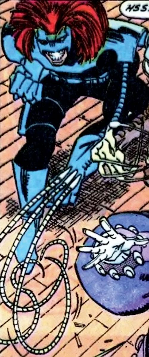 Whiplash (Marvel Comics) (Leeann Foreman) with the blue and black costume
