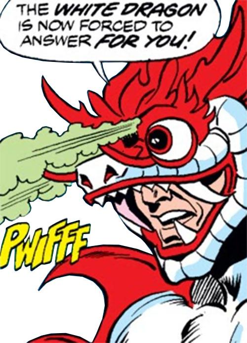 White Dragon (Spider-Man enemy) mask closeup, original costume