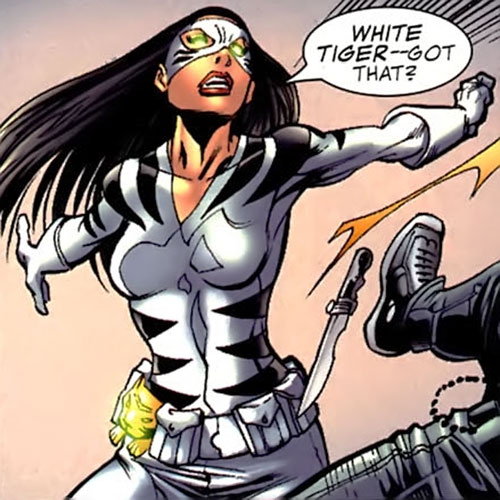 White Tiger (Angela del Toro) (Marvel Comics) with her eyes glowing green