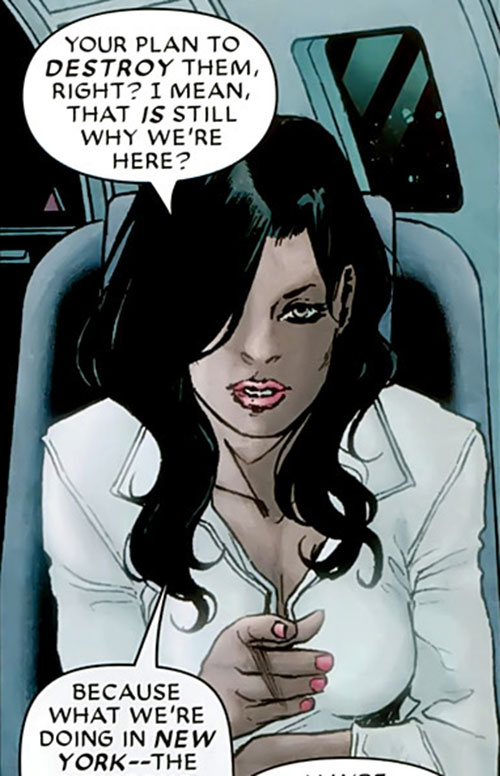 White Tiger (Angela del Toro) (Marvel Comics) in a white blouse