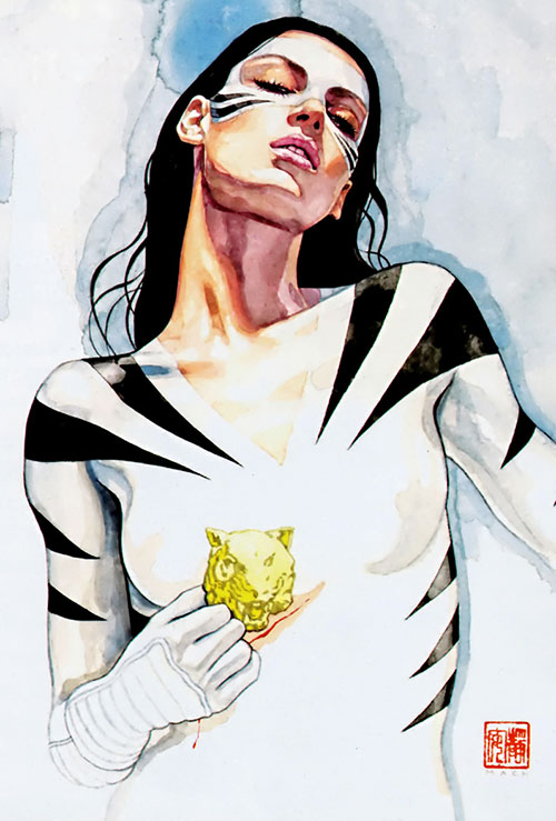 White Tiger (Angela del Toro) (Marvel Comics) painted portrait with amulet