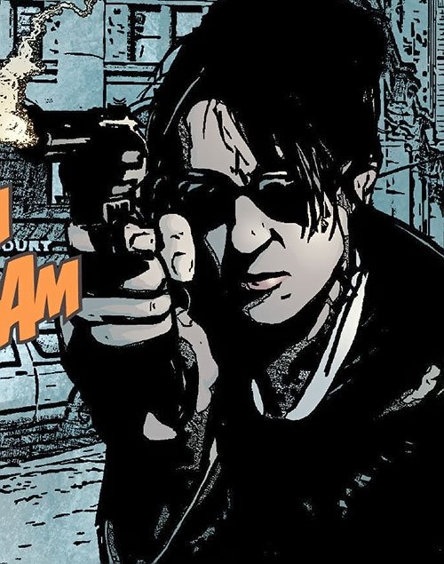 White Tiger (Angela del Toro) (Marvel Comics) firing her service revolver
