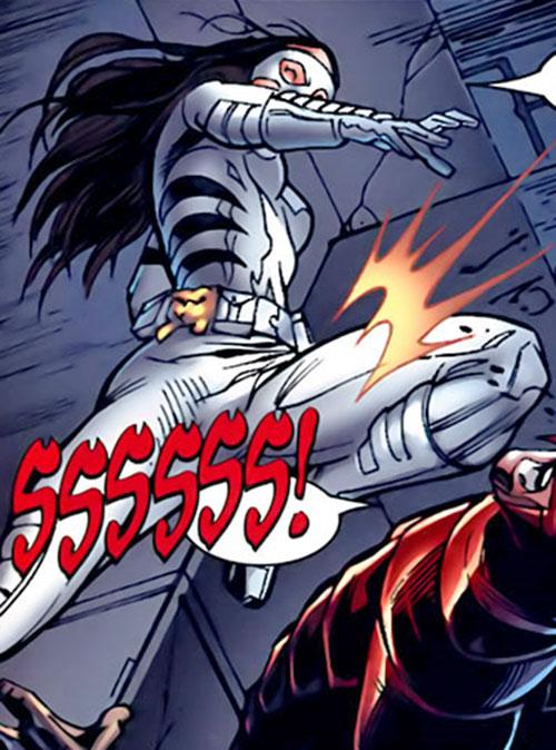 White Tiger (Angela del Toro) (Marvel Comics) doing a jumping knee strike