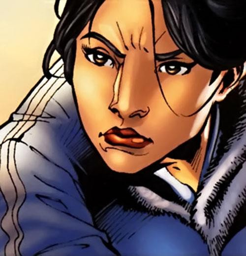White Tiger (Angela del Toro) (Marvel Comics) face closeup with track vest