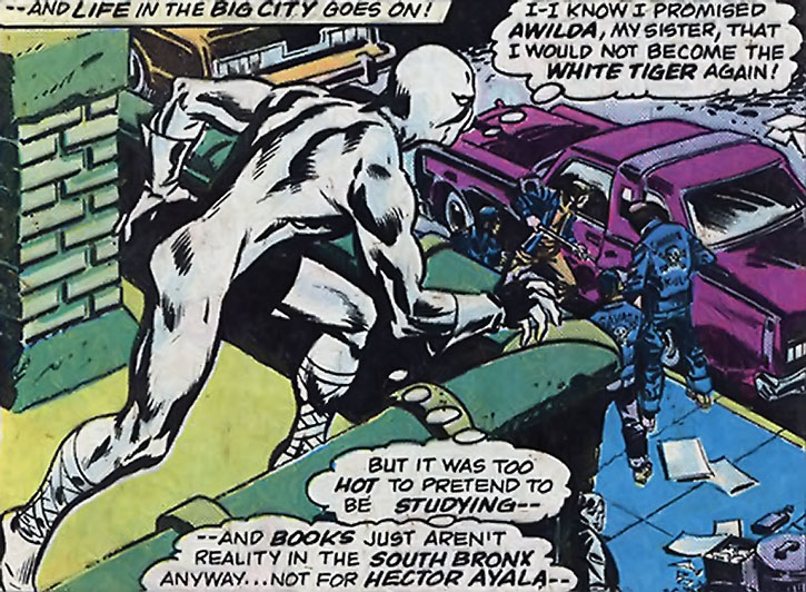 White Tiger (Hector Ayala) stalks a street gang