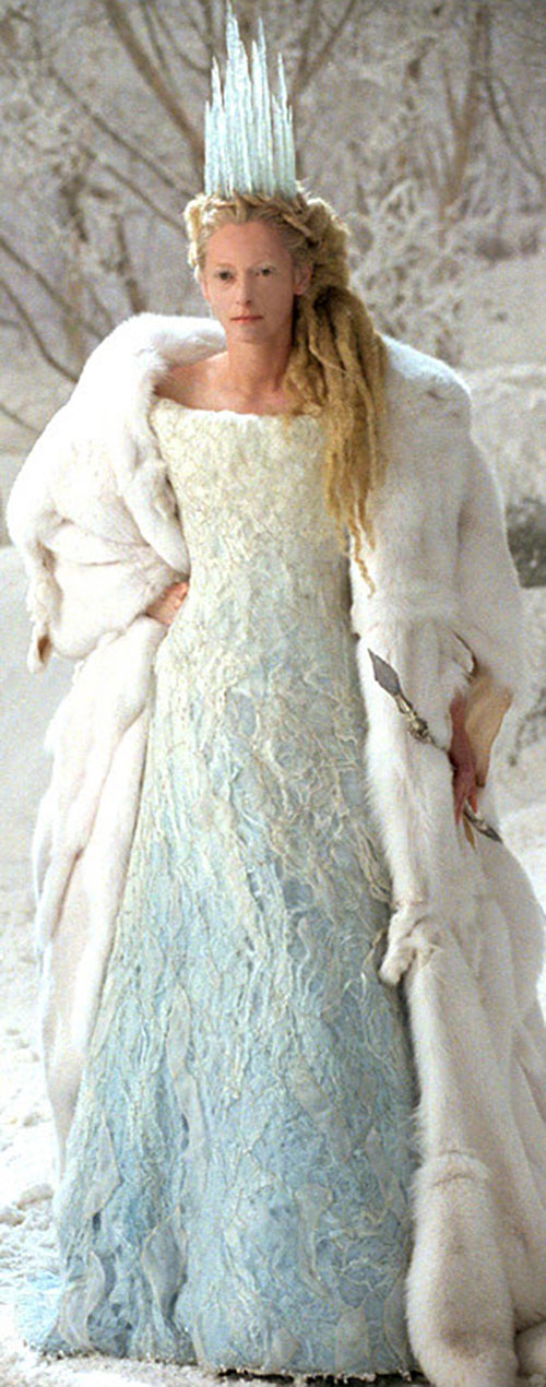 Jadis the White Witch (Tilda Swinton in Narnia) in a white dress and coat