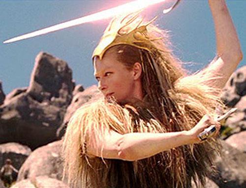 Jadis the White Witch (Tilda Swinton in Narnia) dual-wielding broadswords