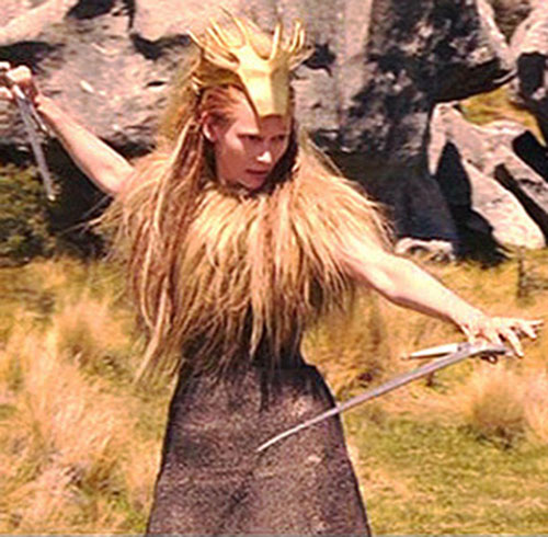 Jadis the White Witch (Tilda Swinton in Narnia) with paired swords