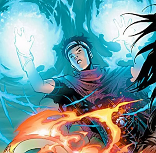 Wiccan of the Young Avengers (Marvel Comics) casting a spell