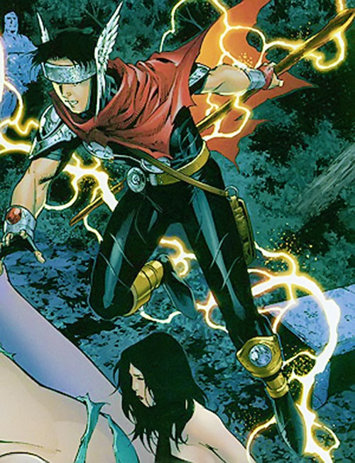 Wiccan of the Young Avengers (Marvel Comics) magically flying