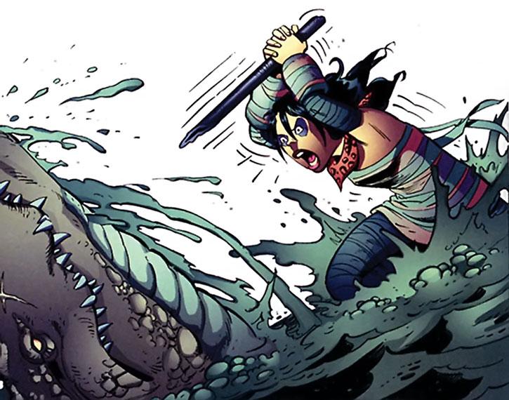 Wild Girl (Rosa Torez) vs. a crocodile