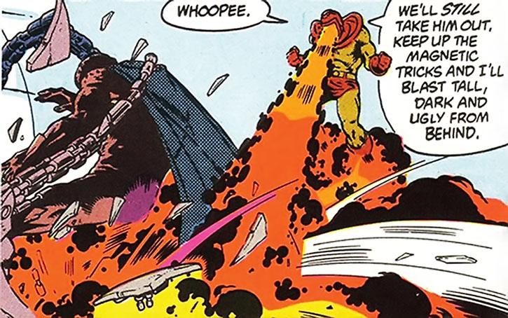 Wildfire (Drake Burroughs) blasting a servant of Darkseid