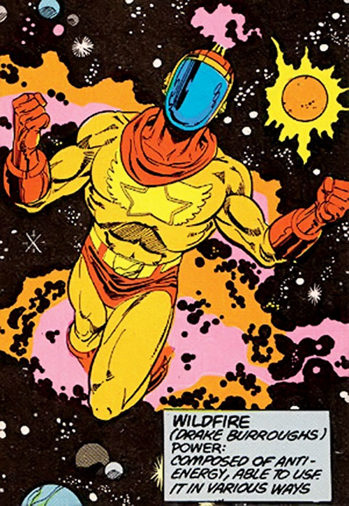Wildfire of the Legion of Super-Heroes (pre-boot DC Comics) flying in space