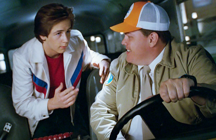 Will Stronghold (Michael Angarano) discusses with the bus driver