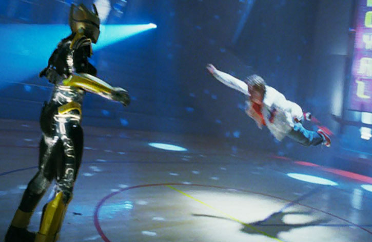 Will Stronghold (Michael Angarano) flies at an opponent