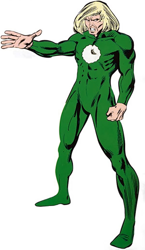 Will o' the wisp (Marvel Comics) with his hand raised