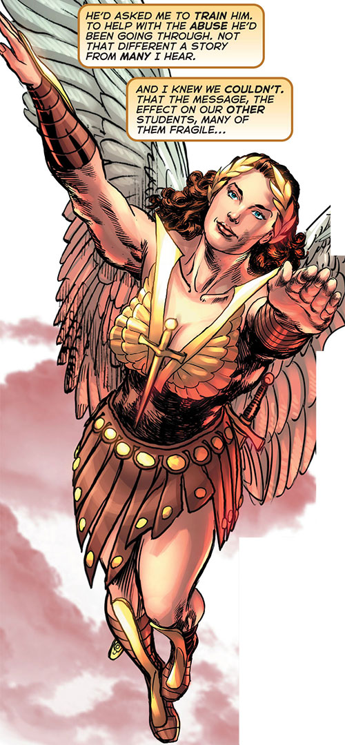 Winged Victory (Astro City comics) flying up smiling