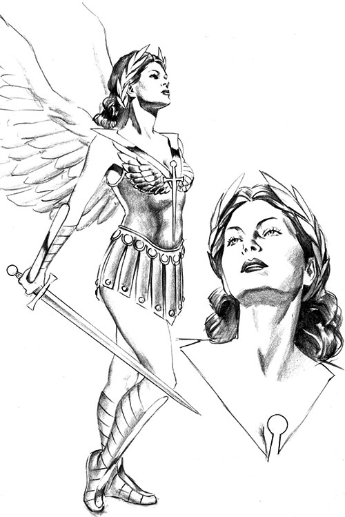 Winged Victory (Astro City comics) B&W sketch