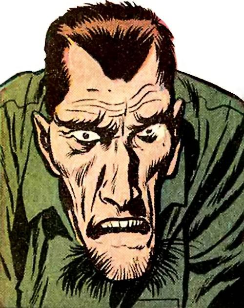 Wizard (Marvel Comics) face closeup green shirt