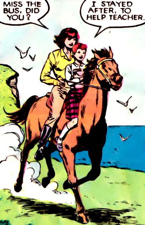 Wolfsbane (New Mutants) (Marvel Comics) (Earliest) riding a horse with Moire MacTaggert