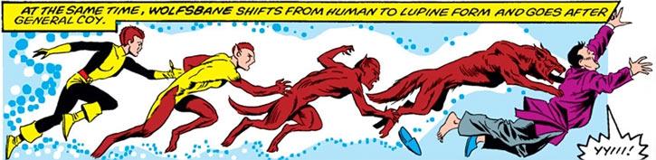 Wolfsbane (New Mutants) (Marvel Comics) (Earliest) transforming jump