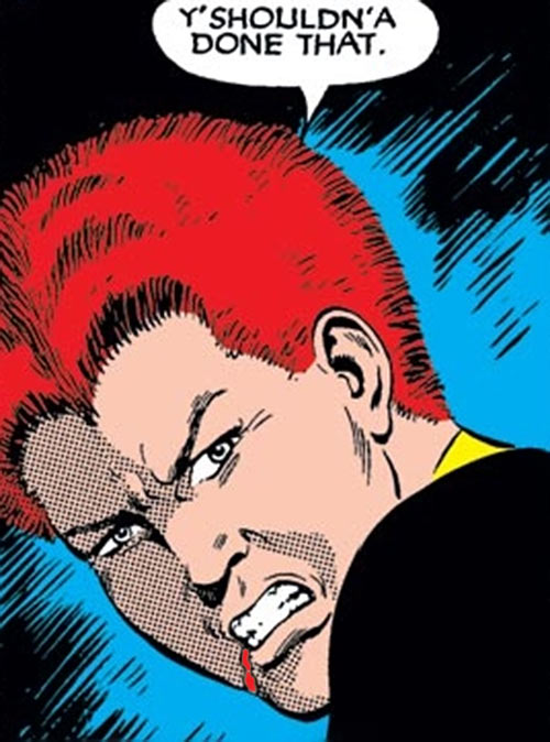 Wolfsbane (New Mutants) (Marvel Comics) (Earliest) angry face bloodied lip