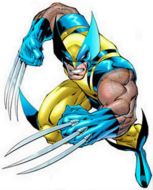 Wolverine (Marvel Comics) in the yellow and blue costume with claws out