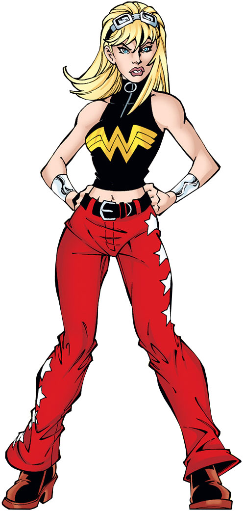 Wonder Girl (Cassie Sandsmark) with the black top and red pants